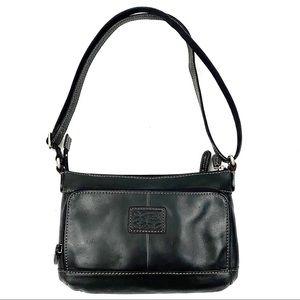 FOSSIL black leather crossbody purse